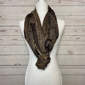 West|Lopp Indian Wrap Scarf Gold & Black 26x65